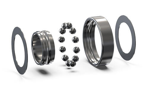 Radial ball bearing disassembled Ball bearing assembly. 3D rendering